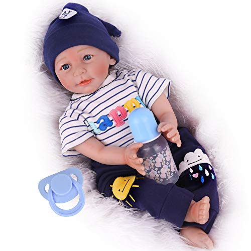 CHAREX Baby Reborn Dolls 18 inch Lucy Lifelike Newborn Real Life Soft Silicone Baby Doll with Panda Gift Set for...