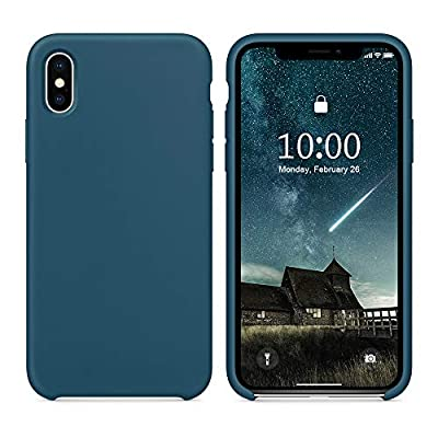 SURPHY Silicone Case for iPhone Xs Max Case, Soft Liquid Silicone Shockproof Phone Case (with Microfiber Lining) Compatible with iPhone Xs Max (2018) 6.5 inches (Cosmos Blue)