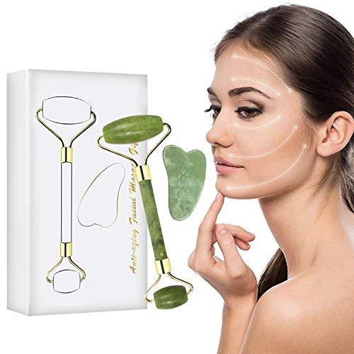 Masajeador de Jade, Rodillo de Jade para Masajeador Facial Antienvejecimiento, Perfecto para Belleza de Cuello y Cara, Cuidado de la Piel, Incluye Tablero Gua Sha