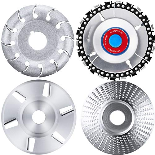 Angle Grinding Wheel Wood Carving Disc 12 Teeth Wood Polishing Shaping Disc and Wood Turbo Carving Disc in 6 Teeth and Grinder Chain Disc for Polishing Wheel Plate, 4 Pieces (Silver 6 Teeth Disc)