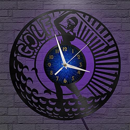 Jugar Tema de Golf Vinilo Registro Reloj de Pared, Reloj de Pared para la Cocina casa Sala de Estar Dormitorio Escuela Vintage Vinilo Registro Retro Reloj de Pared Gran Arte Exclusivo Reloj de Pared