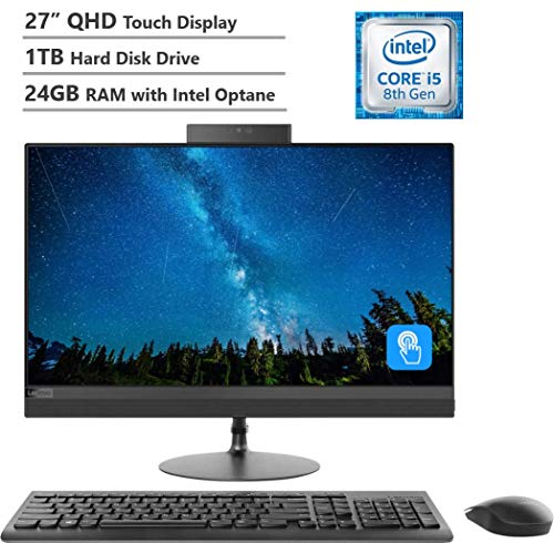 "2019 Lenovo IdeaCentre 520 27"" Touch Display QHD(2560x1440) AIO Desktop Computer, Intel Hexa-Core i5-8400T, 24GB Memory:16GB Intel Optane + 8GB RAM, 1TB Hard Drive, DVDRW, Wireless-AC,HDMI, Windows 10"