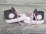 Babyschuhe gehäkelt-Sneakers-anthrazit/rosa-Turnschuhe-Sportschuhe-Krabbelschuhe