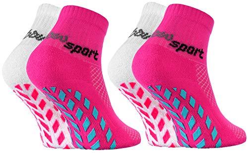 Rainbow Socks - Niñas Niños Calcetines Antideslizantes de Deporte - 2 Pares - Blanco Rosa - Talla 24-29