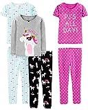Simple Joys by Carter's 6-Piece Snug Fit Cotton Pajama Set Sets, Unicornio/Puntos/Tortuga, US 8 (EU 128 CM), Pack de 6