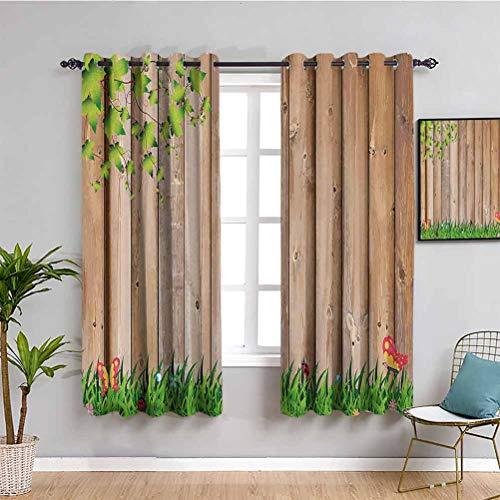 Cortina oscura para decoración de casa de campo con mariposas y mariquitas, fácil de limpiar Multi W63 x L45 pulgadas