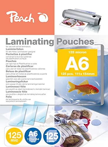 Peach PP525-04P Laminierfolien | DIN A6 | 125 Mikron | 125 Stück | für alle handelsüblichen Laminiergeräte
