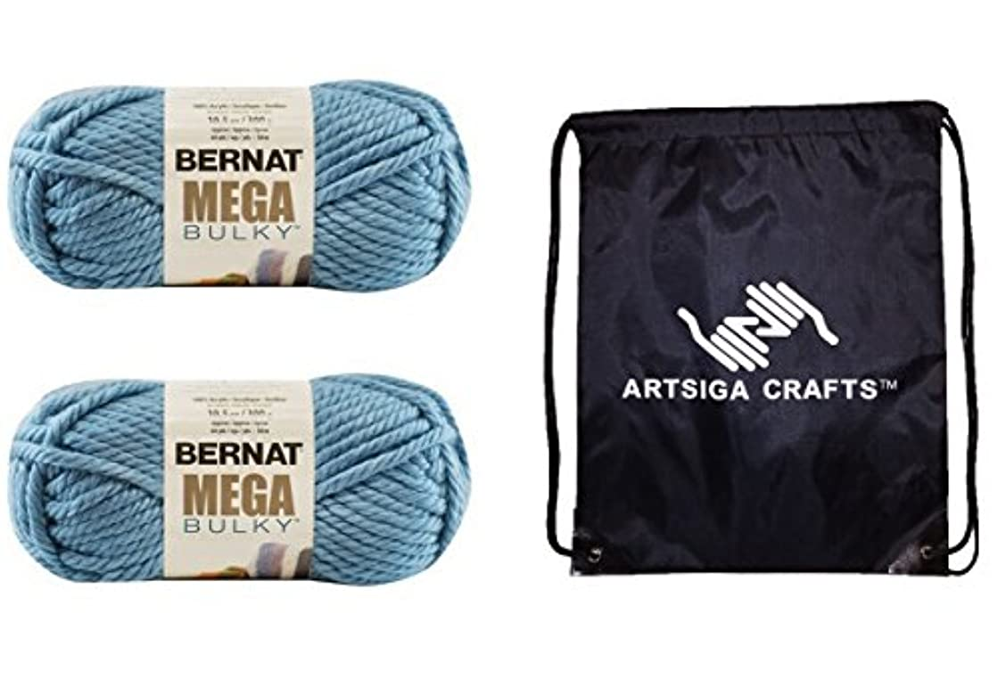 Bernat Mega Bulky Yarn (2-Pack) Teal 161188-88206 Bundle with 1 Artsiga Crafts Project Bag