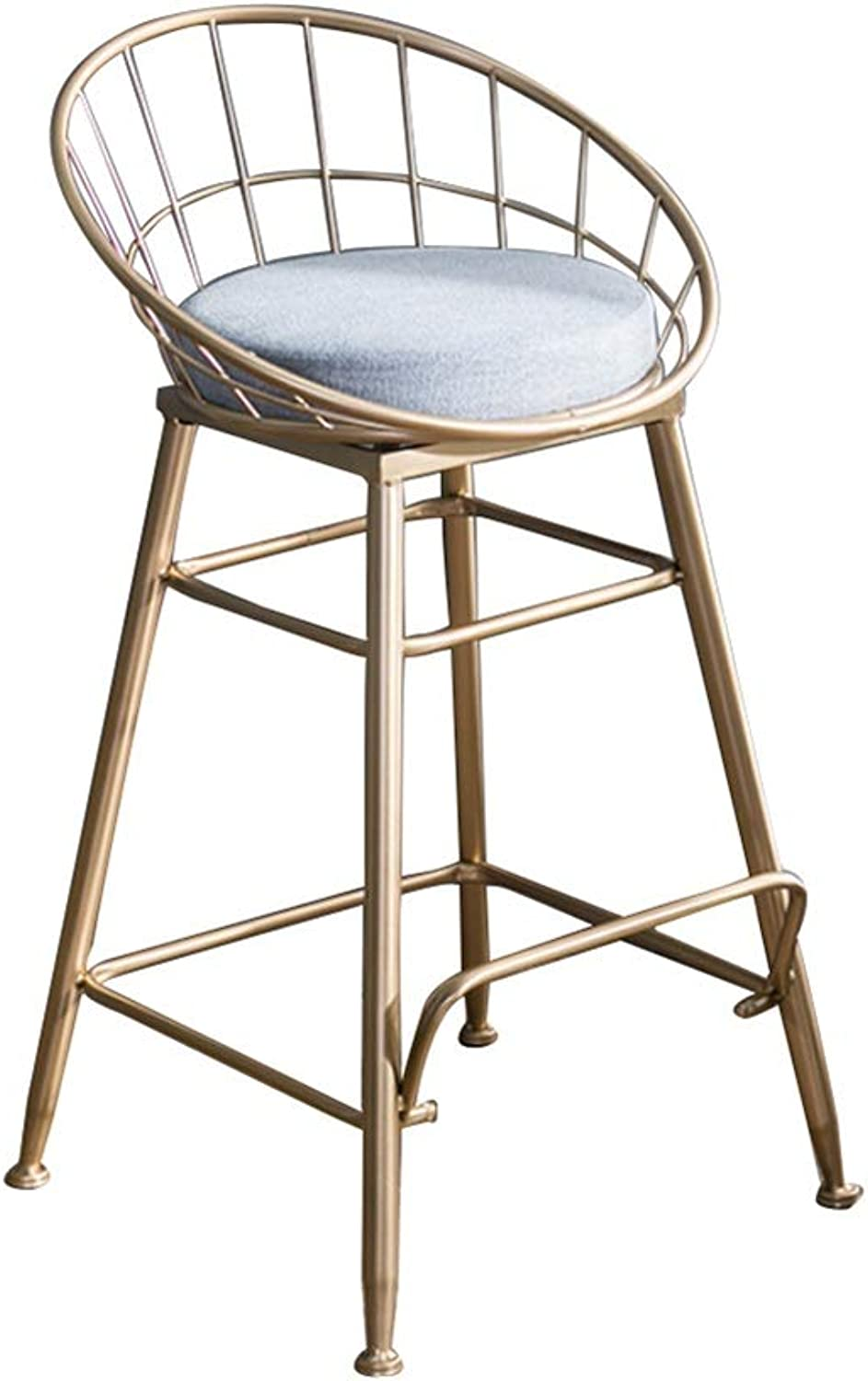 Barstools Chair High Stool Bar Stool Breakfast Chair and Cushion Seat Back Comfort Kitchen Breakfast Counter Greenhouse gold (Multiple Sizes) (Size   47x47x65cm)