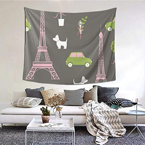 ZVEZVI Tapiz para Colgar en la Pared, Torre Eiffel de París, Coche para Perros, construcción de árboles, tapices, decoración, Sala de Estar, Dormitorio para decoración del hogar, 60 x 51 Pulgadas