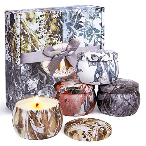 ACTOPP Duftkerzen Geschenkset 100% Sojawachs Kerzen 4 Stücke Aromatherapie Kerze in Dose Freesie Lavendel Rosmarin Vanille Duftkerzen Set Duft Geschenk Set für Geburtstag Weihnachten