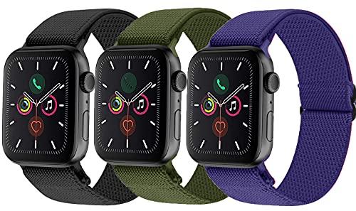 Tervoka Correa deportiva compatible con Apple Watch de 44 mm y 42 mm, correa de tela de nailon, correa de repuesto para iWatch Series 6/SE/5/4/3/2/1, 3 unidades A