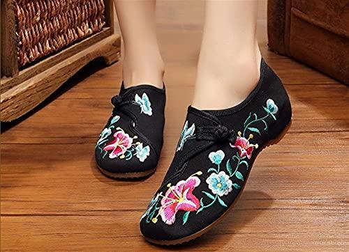 Shability Zapatos Bordados para Mujeres Zapatos Planos Bordados Lindos Mujer Señoras Suaves De Goma Suela Retro Zapatos De Baile Femenino yangain (Color : D, Size : 6.5)