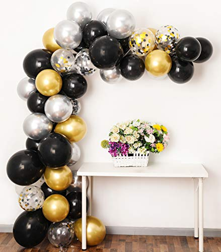 Black Gold Silver Balloon Garland Kit, 12Inch Balloon Garland Backdrop Including Black, Chrome Gold Silver Confetti Balloons Decorations Backdrop Ideal for Birthday Party Decorations