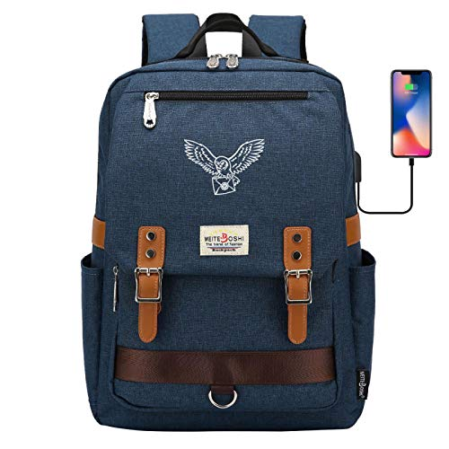 DDDWWW Lightweight Waterproof Canvas Backpack Large Capacity Riding Backpack Children's Homing Pigeon School Bag Large Army Blue
