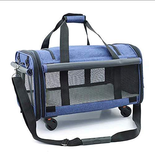 YYhkeby Pet Carrier Pet Mochila salgo portátil portátil Bolsa de Polea del Gato del Perro Mochila se apaga for la ventilación Mascota Jaula del Gato Bolsa de Viaje Jialele ( Color : Blue , Size : M )