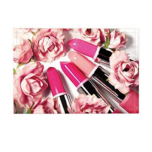 Oktbrn Cadeau voor Valentijnsdag, cosmetica, lippenstift, roze, koraal, bloem, meisjes, tieners, badmat, antislip, deurmat, ingang, ingang, ingang, ingang, ingangsingang, huisdeur mat kinderen 15,7 x 23,6 inch