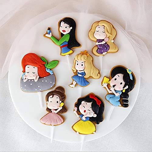 Juego de 7 adornos para tartas de princesa, color blanco nieve, Ariel, Rapunzel, Hua Mulan, Jazmín, Bella Durmiente y Cenicienta