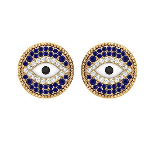 Pendientes de tuerca de zafiro azul de 1/2 quilates, con diamantes y zafiros azules (calidad AAA), con rosca azul