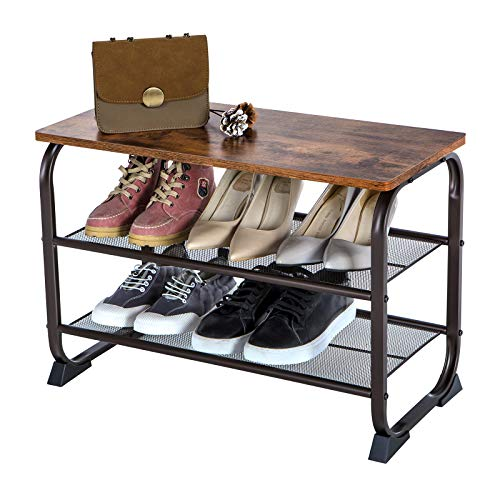 VASAGLE Industrial Shoe Bench Rack, 3-Tier Shoe Storage Shelf for Entryway Hallway Living Room, Wood Look Accent Furniture with Metal Frame, Easy Assembly