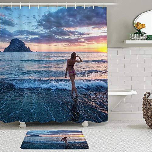 LISNIANY Duschvorhang Badezimmermatten Set,Ocean Girl Woman Sexy Lady Bikini Stehend auf Wave Shoal Genießen Seascape Sundown,rutschfeste Badematte und wasserdichter Duschvorhang Badezimmer