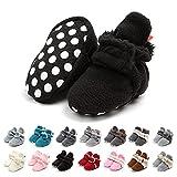Botas de Niño Calcetín Invierno Soft Sole Crib Raya de Caliente Boots de Algodón para Bebés (0-6 Meses, Negro, Tamaño de Etiqueta 11)