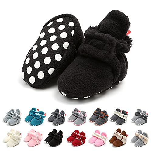 Botas de Niño Calcetín Invierno Soft Sole Crib Raya de Caliente Boots de Algodón para Bebés (6-12 Meses, Negro, Tamaño de Etiqueta 12)