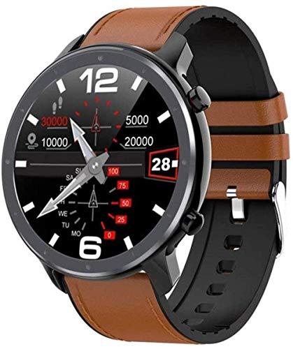 hwbq Reloj Inteligente de Pantalla Completa Táctil Pulsera Inteligente Deportes Contador de Pasos Ip68 Impermeable Pulsera Bluetooth Hombre y Mujer Rastreador de Aptitud Uso Diario-Negro Marrón Cuero