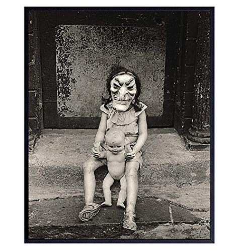 Weird Creepy Girl in Scary Witch Halloween Mask Vintage Photo Picture - Gift for Gothic Home Decor, Witchcraft, Horror Movie Fans - Retro Photograph Wall Art Poster Print - 8x10 Room Decorations