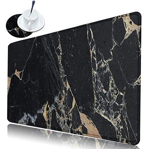 Desk Pad Large Gaming Mouse Pad with Stitched Edge, Dikoer Non-Slip Rubber Base Keyboard Mousepad XL(31.5 x 11.8 in) Extended Full Desk Mouse Mat for Laptop Office Home + Coasters, Black Marble