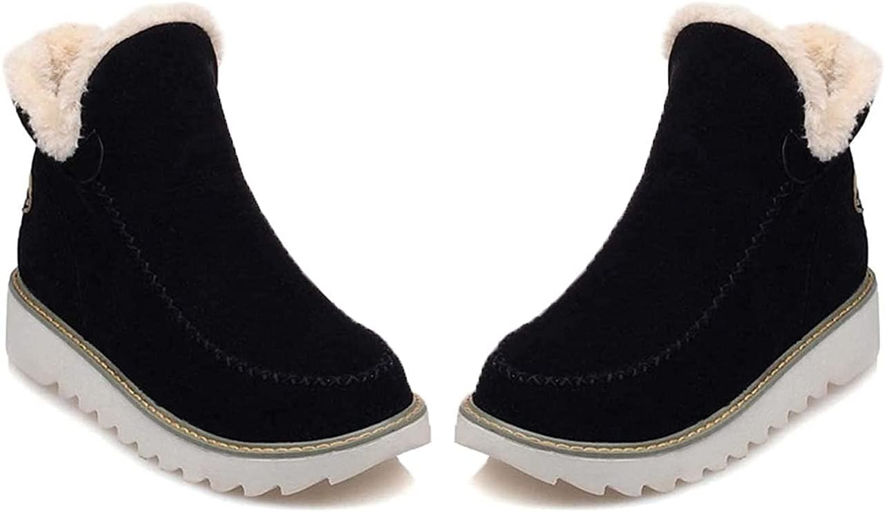 Pyrenees Fleece Ankle Boots, Women's Winter Outdoor Warmth Padded Low-Tube Suede Flat-Heel Snow Boots Cotton Shoes (Black, 4)