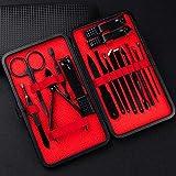 Profesional Cortaúñas Acero Inoxidable Grooming Kit Set de 16 Piezas Manicura Pedicura Kits de higiene Cutícula cuidado personal Traje familiar - Rojo vintage