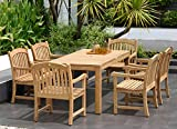 Amazonia Pennsylvania 7-Piece Outdoor Rectangular Dining Table Set | Certified Teak | Ideal for Patio and Indoors, Light Brown