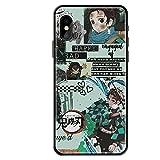Anime Kimetsu no Yaiba - Carcasa de Cristal Templado para iPhone 6 6S 7 8 Plus X XR XS MAX 11 Pro MAX SE 2020 de Dibujos Animados Demon Slayer-A_for_iphone7plus/8plus