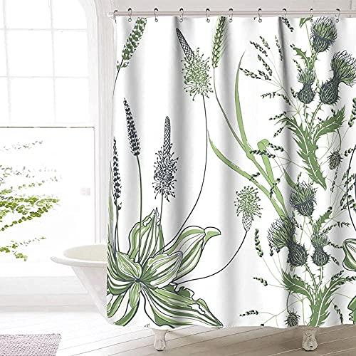 Distel Duschvorhang Premium Polyester wasserdicht Distel Duschvorhang für Badezimmer 72 x72