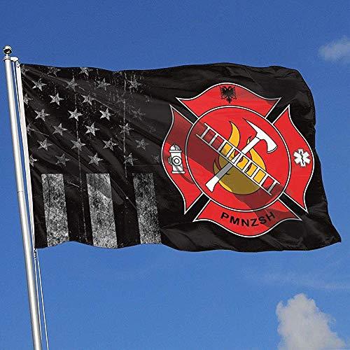 Elaine-Shop Außenflaggen USA Flagge Feuerwehr und Rettungsdienste von Albanien 4 * 6 Ft Flagge für Wohnkultur Sport Fan Fußball Basketball Baseball Hockey