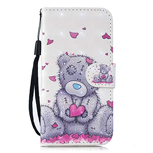 BestCatgift [3D Painted] Galaxy J3 Magnetic Wallet Phone Custodia With [Wrist Strap] PU Leather Flip Protective Cover per Samsung J3 2016/J3 V/Amp Prime/Express Prime/Sky/Sol 2 SM-J320 - Care Bears