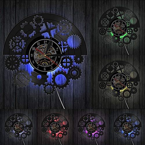 JAXU CWN 'ART Gothic Steampunk Schallplatte Wanduhr Zahnräder Schwarz Schallplatte LP Wanduhr Vintage Wandkunst Tribal Machine Clock Timekeeper LED-Leuchten
