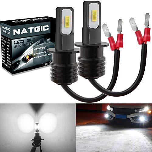 NATGIC H3 LED Bombillas Antiniebla Alta Potencia 75W Chips Integradas 3570 CSP 6500K Xenón Blanco y 2400LM para Bombillas Antiniebla Luz de Conducción Diurna Lámpara de Conducción DRL (Paquete de 2)