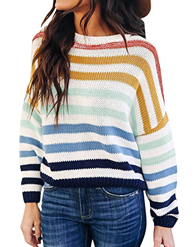 ZESICA Women's Long Sleeve Crew Neck Striped Color Block Casual Loose Knitted Pullover Sweater Tops,Navy,Large