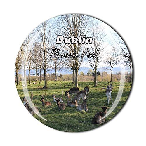 Imán de cristal para nevera de Phoenix Park Dublín Irlanda 3D para nevera o nevera con imán de cristal para viajes turísticos