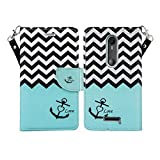 Microseven Compatible with Droid Maxx 2 Case, Motorola Verizon Droid MAXX 2 / Moto X Play (2015) Magnetic Leather Book Wallet Pouch Case Cover w Fold Up Kickstand w Strap (Teal Anchor)