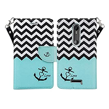 Microseven Compatible with Droid Maxx 2 Case Motorola Verizon Droid MAXX 2 / Moto X Play  2015  Magnetic Leather Book Wallet Pouch Case Cover w Fold Up Kickstand w Strap  Teal Anchor