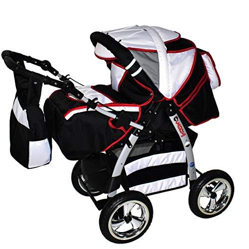 Kinderwagen mit Autositz Isofix alles in einem 3 in 1 Kombikinderwagen King by ChillyKids Schwarz & Weiß & Naht Rot 2in1 ohne Autositz
