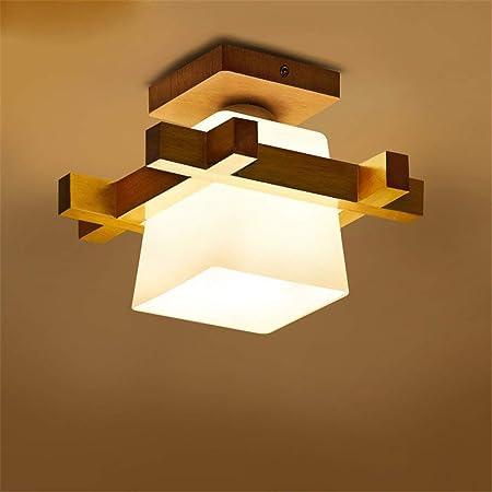 E27 Modern Ceiling Light Wood Glass Minimalist Ceiling Lamps Creative Ceiling Lighting Simple Ceiling Light For Living Room Dining Room Bedroom Corridor Amazon De Lighting