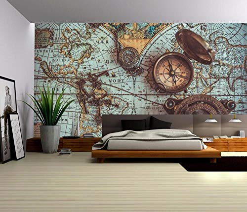 3D fotobehang wandschilderij retro wereldkaart wandklok achtergrond behang About 350 * 245cm 3 stripes