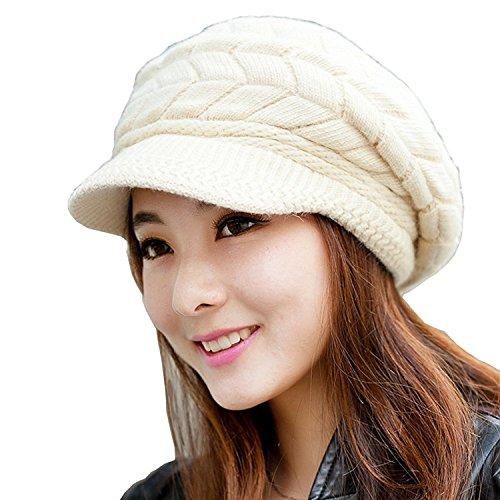 Gorro tejido para mujer con visera, ideal para invierno, nieve, esquí Beige beige Large