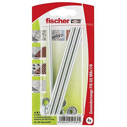 fischer 052584 Gewindeanker 6 x110 K, Inhalt: 4 x Injektions-Gewindestange FIS GS M 6 x 110, Scheiben + Muttern