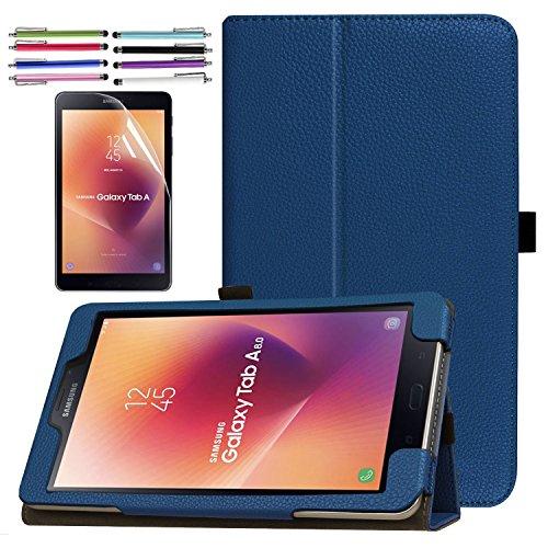Folding PU Case for Galaxy Tab A 8.0 (2017), EpicGadget Auto Sleep/Wake Premium PU Leather Folding Folio Case For Samsung Galaxy Tab A 8.0 (T380/T385) (2017 Release) (Navy Blue)