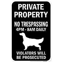 PRIVATE PROPERTY ブラックマグネットサイン:アイリッシュセッター シルエット 英語 私有地 無断立入禁止